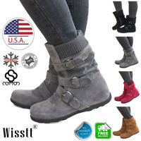 Women's Winter Warm Ankle Flat Boots Suede Fur Lined Mid-calf Short Snow Shoes F