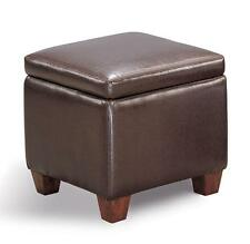 Brown Faux Leather Storage Cube Ottoman Footstool by Coaster 500903