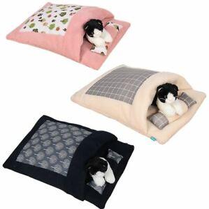 New Cotton Warm Pet Dog Cat Sleeping Bag House Sofa Bed Cushion Mat +Pillow