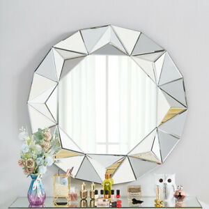 Luxury Large Round Wall Mirror Silver Venetian Abstract Frame Style Bedroom Deco