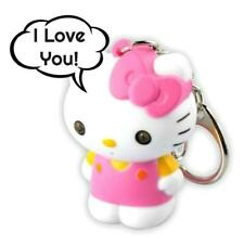 LED HELLO KITTY KEYCHAIN w Light and Sound Says I Love You Animal Key Ring Chain