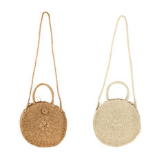 Retro Straw Bag Rattan Woven Round Handbag Vintage Knitted Messenger Purse