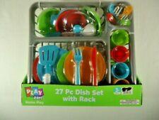 Pretend Play Child Kitchen Dishes Set for Kids 27 Piece Plus Rack