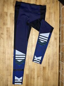 UNDER ARMOUR Fitted Compression Heat Gear Womens Size Small Black Blue Leggings