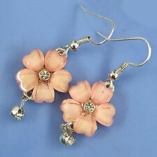 Flower Rheinstones Hook Hoop Earrings #800019 Womens Fashion Jewelry 2 cm Pink
