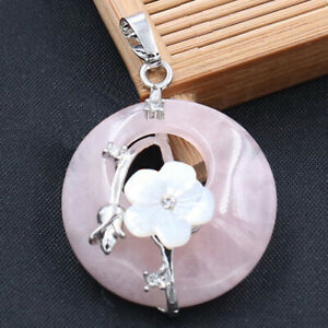 New Classical Women jewelry Nature Pink Agate Gemstone Charm Necklace Pendants