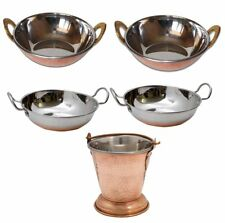 5 Pcs Set Stainless Steel Table Serving Balti|Kadai Copper Bottom Mini Wok