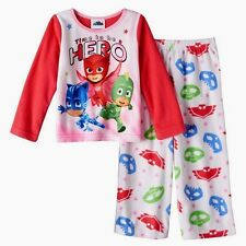 NWT Girls 3T Fleece Pajamas PJ MASKS $30 Winter Pink Owlette DISNEY JR Toddler