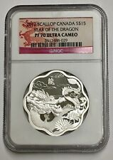 2012 'Year of the Dragon' (Scallop Shaped) $15 Silver .9999 Fine NGC pf 70 UC
