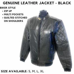 Men's Black Biker Motorcycle Diamond Quilted Racer Real Sheepskin Leather Jacket