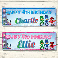 2 PERSONALISED 800 x 297mm PJ MASKS BIRTHDAY BANNERS - ANY NAME - ANY AGE