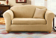 Sure Fit Sofa Slipcover Stretch Suede Camel Separate Box Style Seat Cushion
