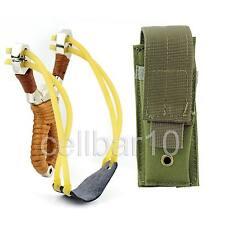 Hunting Powerful Stainless Steel Anti-slip Catapult Slingshot+Holster Pouch