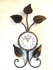 Grand horloge murale FEUILLES fer forgé OR quartz