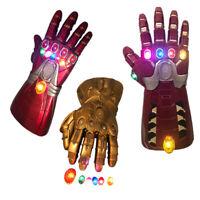 NEW Thanos Infinity Gauntlet Gloves Hulk LED Light Avengers Iron Man Cosplay PVC