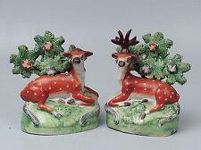 Pair Antique 19C Staffordshire Pearlware Recumbent Deer Figurines Bocage - PT