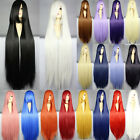 Women Ladies Long Straight Cosplay Party Wig Colorful Free Wig Cap 100CM