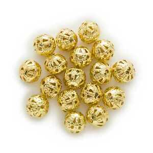 100 Piece Gold Plated Hollow Flower Spacer Beads Findings Jewelry Making 4-10mm