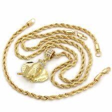 "14k Gold Plated Custom Hip Hop Elephant Pendant 4mm 30"" Rope Chain 8"" Bracelet"