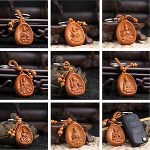1PC Carved Wood Buddhism Buddha Statue Keychain Keyring Car Bag Pendant Keyfob