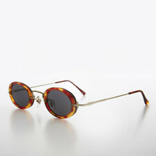 90s Tiny Oval Combination Frame Gold and Tortoise Vintage Sunglass - Solo