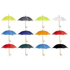UM115 Unisex Plain Black Automatic Walking Umbrella With Wooden Handle