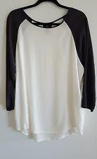 GAP Womens Raglan 3/4 Sleeve Baseball Rayon Blouse Top Gray Antique White XL