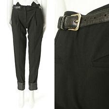 "ALEXANDER WANG black croc embossed belt back leather cuff trouser pants US2 30"""
