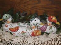 Fall Decor 3 Pumpkin Fabric Ducks Farmhouse Autumn Centerpiece Wreath Accents