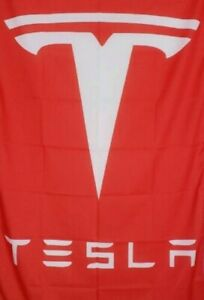 Tesla Motors Flag  red vertical  1500mm x 900mm (of)
