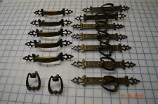 Vintage lot of Brass Plates / Handles Cabinets Armoires Closets Faux Wood Grain