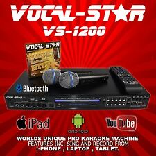 VOCAL-STAR VS1200 CDG DVD BLUETOOTH KARAOKE MACHINE PLAYER 2 MICS 300 SONGS XDEM