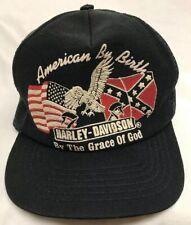 Rare VTG 70s 80s Harley Davidson Snapback Hat American By Birth See Description