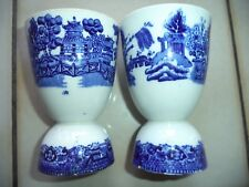 Pair of Antique Blue Willow Egg Cups