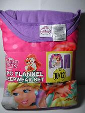 New Girls Disney Princess Palace Pets 2 pc Flannel Pajamas Sleepwear Set 10/12