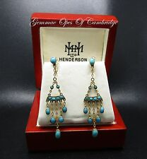 Vintage 9ct Gold Turquoise Chandalier Earrings 2.48g