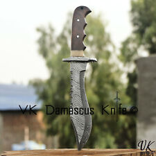 Handmade Damascus Steel Hunting Bowie Knife Camel Bone & Rose Wood Handle vk2211