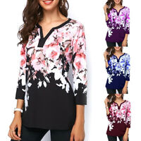 Plus size Women Summer Print Flower Tops Long Sleeve V-Neck T Shirt Tee Shirt