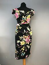 The Pretty Dress Company Black & Floral Ladies Body-con Dress Size 12