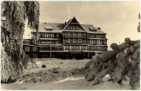 OBERHOF Thüringen alte s/w DDR Postkarte ~1965 Ernst-Thälmann-Haus im Winter