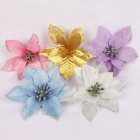10x Artificial Glitter Christmas Flowers Xmas Tree Decoration Wedding Party Home