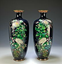 Large Mirror Pair of Antique Japanese Cloisonne Vases with Cranes and Flowers