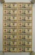 2006 - Uncut U.S. Currency Sheet - 16 x $10 Bills - Federal Reserve Notes