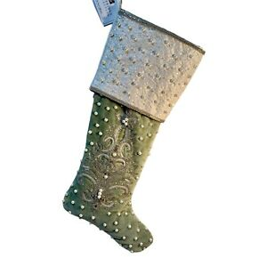 Katherine's Collection Peace On Earth Christmas Green Stocking NEW  #14-914271
