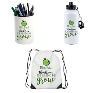Personalised Thank You For Helping Me Grow Pencil Pot,Water Bottle,Gym Bag.