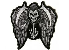 """(L46) REAPER SKULL w/ WINGS & MIDDLE FINGER 11.6"""" x 12"""" iron on back patch (5144"""