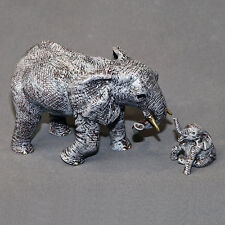 Adorable  Bronze  Elephant Figurine Sculpture Statue Art African Signed Numbered