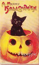 Fabric Block Vintage Halloween Postcard Image Pumpkin Black Cat Merry Halloween
