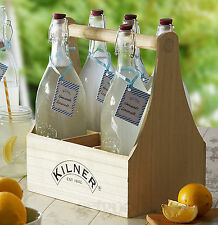 7 Piezas Kilner 1 Litro Vidrio Vino Aceite oscilación superior preservar Botellas & Caddy Set