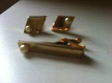 Vintage Cufflinks and Matching Tie Tac Goldtone with Pearls